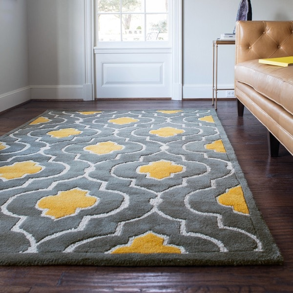 Hand-tufted Logan Grey/ Gold Wool Rug - 5' x 7'6