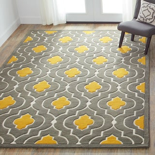 Hand-tufted Logan Grey/ Gold Wool Rug (7'10 x 11'0)