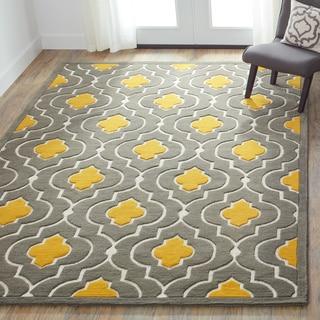 Hand-tufted Logan Grey/ Gold Wool Rug (7'10 x 11'0)