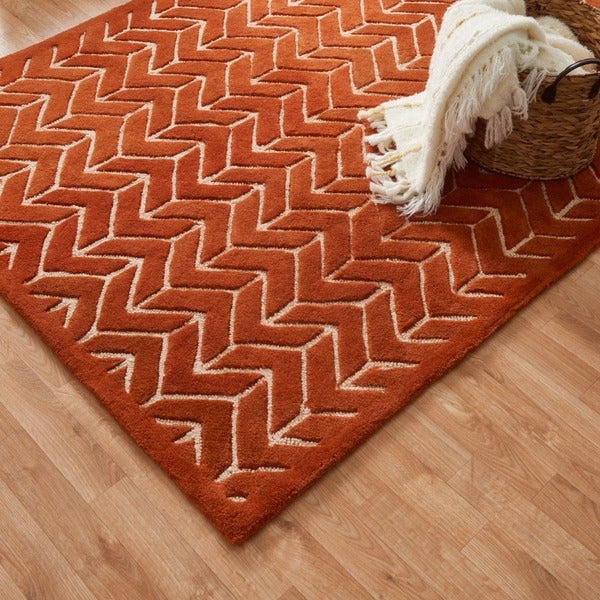 Hand-tufted Logan Tangerine Wool Rug - 7'10 x 11'