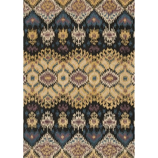 Hand-tufted Arianna Black/ Light Gold Wool Rug (7'10 x 11'0)