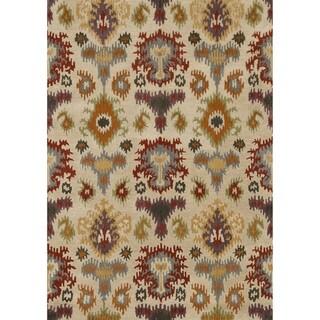 Hand-tufted Arianna Ivory/ Multi Wool Rug (5'0 x 7'6)