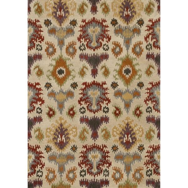 Hand-tufted Arianna Ivory/ Multi Wool Rug