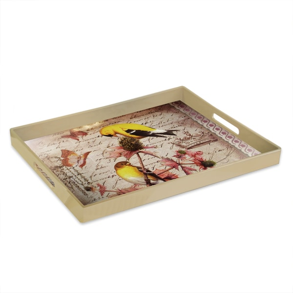 Accents by Jay Notions Gold Finch Rectangle with Handle Tray