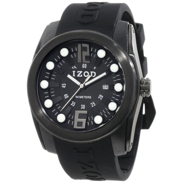 Izod Men's Black Monochromatic Rubber Quartz Watch