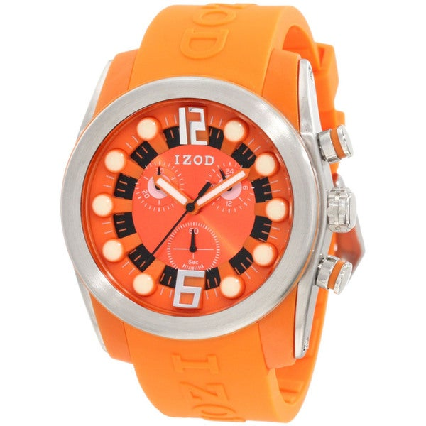 Izod Men's Orange Monochromatic Resin Strap Quartz Watch