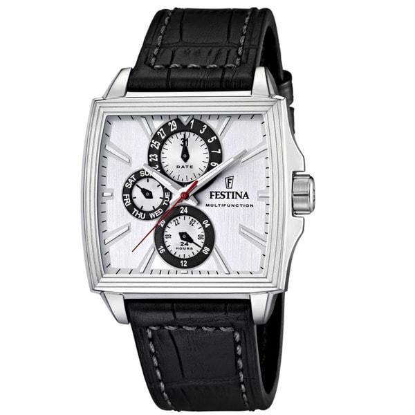 Festina Men's Square Face Black Leather Quartz Watch