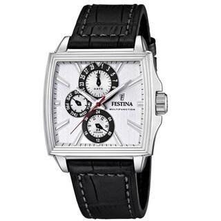 Festina Men S Square Face Black Leather Quartz Watch
