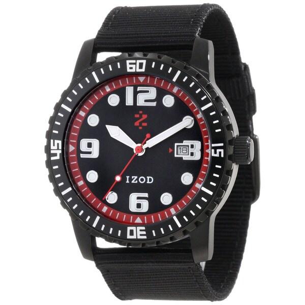 Izod Men's Black Nylon Strap Red Dial Quartz Watch