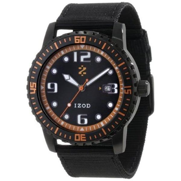 Izod Men's 'IZS3/2.Black.Orange' Black Nylon Quartz Orange Dial Watch