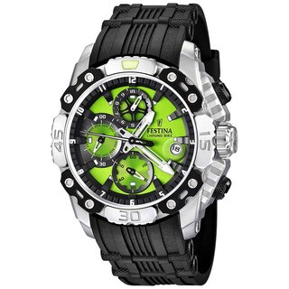 Festina Men's 'Tour de France' Black Rubber Quartz Green Dial Watch