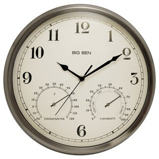 Westclox Metal Outdoor 12.5-inch Round Wall Clock with Built-in Thermometer
