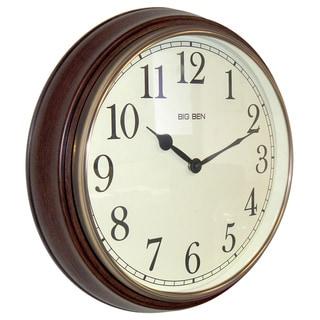 Westclox Beveled Woodgrain 15.5-inch Round Wall Clock