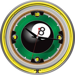 Rack'em 8 Ball 14-inch Neon Wall Clock