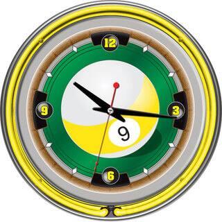 Rack'em 9 Ball 14-inch Neon Wall Clock|https://ak1.ostkcdn.com/images/products/7709094/7709094/Rackem-9-Ball-14-inch-Neon-Wall-Clock-P15115303.jpg?impolicy=medium
