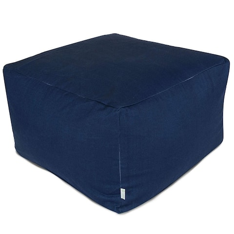 Majestic Home Goods Indoor Outdoor Navy BlueSolid Ottoman Pouf 27 in L x 27 in W x 17 in H