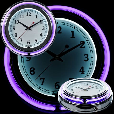 Retro Neon Wall Clock - Battery Operated Wall Clock Vintage 14 Inch Round Analog by Lavish Home (Purple and White)