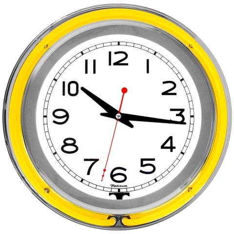 Retro Neon Wall Clock - Battery Operated Wall Clock Vintage  14 Inch Round Analog by Lavish Home (Yellow and White)
