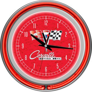 Corvette C2 Red Chrome Double Ring Neon Clock