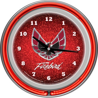 Pontiac Firebird Chrome/ Red Neon Ring Clock