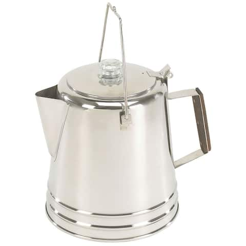 """Stansport Stainless Steel Percolator Coffee Pot 28 Cups - 8"""" L x 8"""" W x 9.75"""" H"""