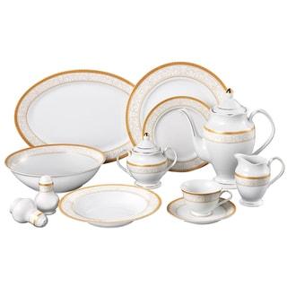Venice Porcelain 49-piece Dinnerware Set  sc 1 st  Overstock.com & Lorren Home Trends 57-piece Porcelain Dinnerware Set with Gold ...