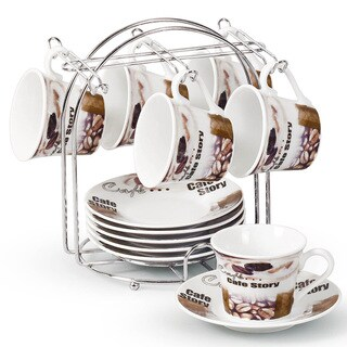 Lorren Home Trend Coffee Bean Design Espresso Set