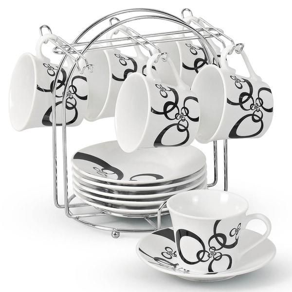 Lorren Home Trend Circle Design Espresso Set