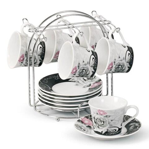 Lorren Home Trend Rose Design Espresso Set