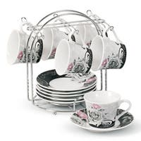 Lorren Home Trend Rose Design Espresso Set