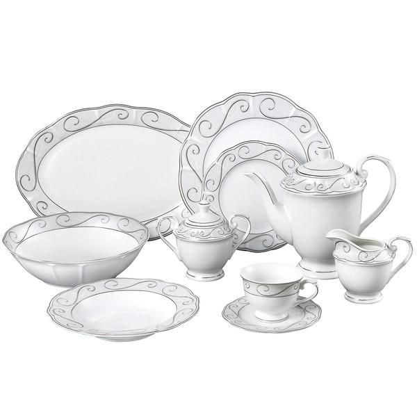Lorren Home Trend Emma Porcelain 47-piece Dinnerware Set  sc 1 st  Overstock & Shop Lorren Home Trend Emma Porcelain 47-piece Dinnerware Set - Free ...