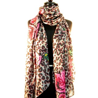 Silk 'Animal and Rose Print' Fashion Scarf