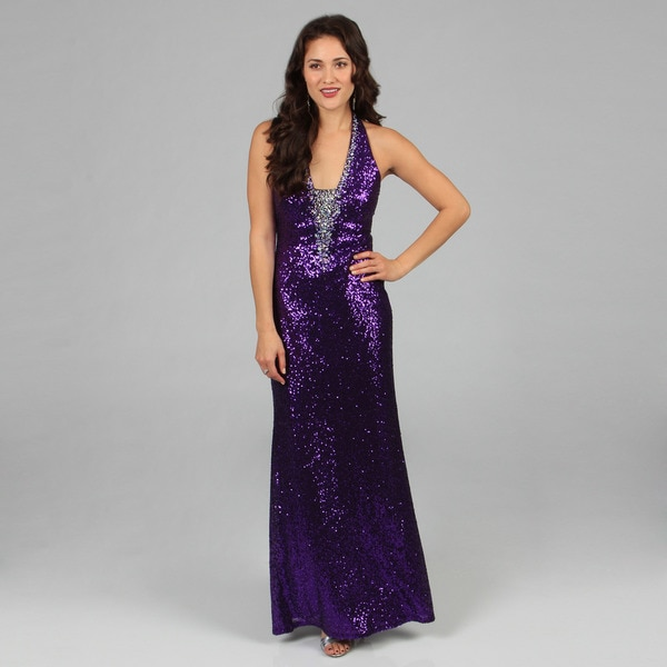 Ignite Evenings Women's Purple Allover Sequin V-front Long Gown