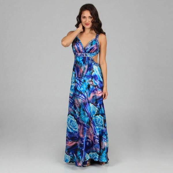Ignite Evenings Women's Turquoise Printed Side Cut-out Long Dress