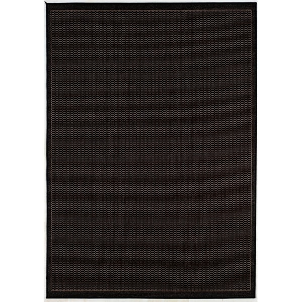 Couristan Recife Saddle Stitch/Black-Cocoa Indoor/Outdoor Area Rug - 3'9 x 5'5
