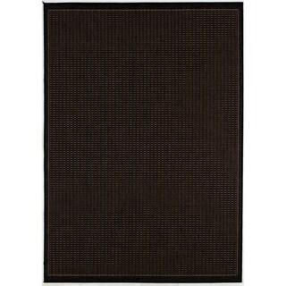 Recife Saddle Stitch Black Rug (2' x 3'7)