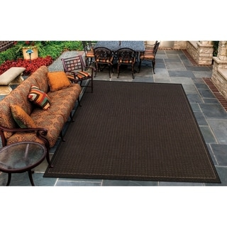 Couristan Recife Saddle Stitch/Black-Cocoa Indoor/Outdoor Area Rug - 5'3 x 7'6