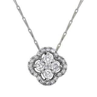 Beverly Hills Charm 14k White Gold Diamond 'Halo Clover' Necklace