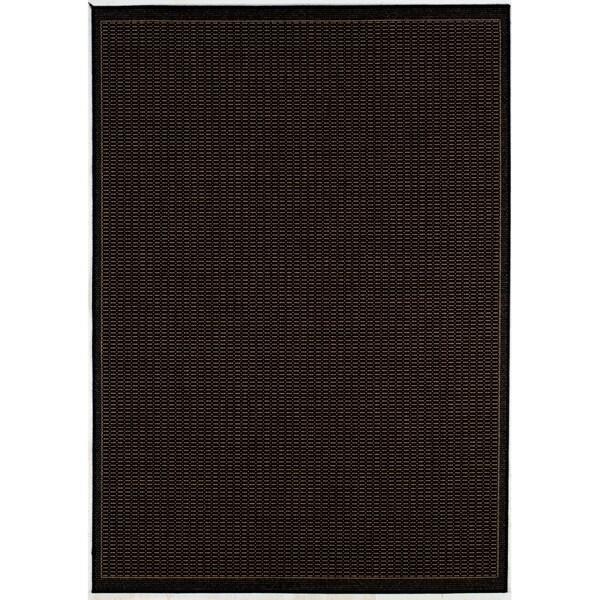 Pergola Basketweave/ Black-Cocoa Indoor/Outdoor Rug - 8'6 x 13'