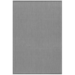 Power-Loomed Pergola Deco Grey/White Polypropylene Rug (5'3 x 7'6)