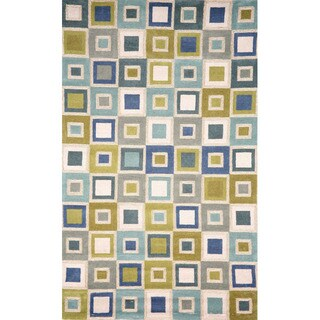 Handmade Light Blue Geometric Squares Outdoor Rug (5' x 7'6) - 5' x 7'6""