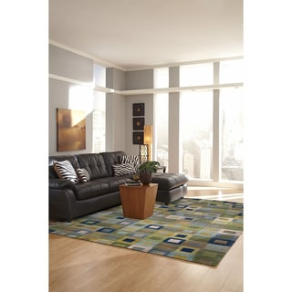 Blue Multicolored Boxes Geometric Indoor Rug (7'6 x 9'6)