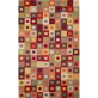 Red Multicolored Boxes Geometric Indoor Rug - 7'6 x 9'6