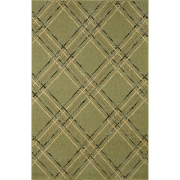 Green and Black Tartan UV Stabilized Outdoor Rug (4'11 x 7'6)
