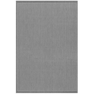 Power-Loomed Pergola Deco Grey/White Polypropylene Rug (5'10 x 9'2)