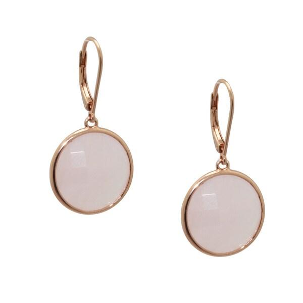 Gioelli Rose Gold over Sterling Silver Rose Quartz Dangle Earrings