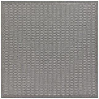 Power-Loomed Pergola Deco Grey/White Polypropylene Rug (7'6 Square)