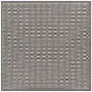 Pergola Deco Grey/White Indoor/Outdoor Square Area Rug - 7'6 x 7'6