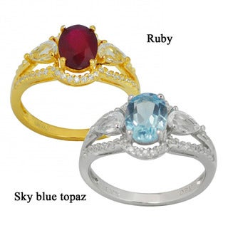 De Buman Sterling Silver Ruby or Sky Blue Topaz Gemstone with White Topaz and Cubic Zirconia Ring