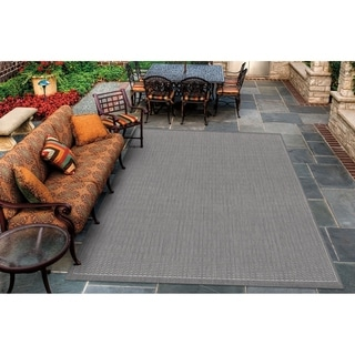 Power-Loomed Pergola Deco Grey/White Polypropylene Rug (7'6 x 10'9)